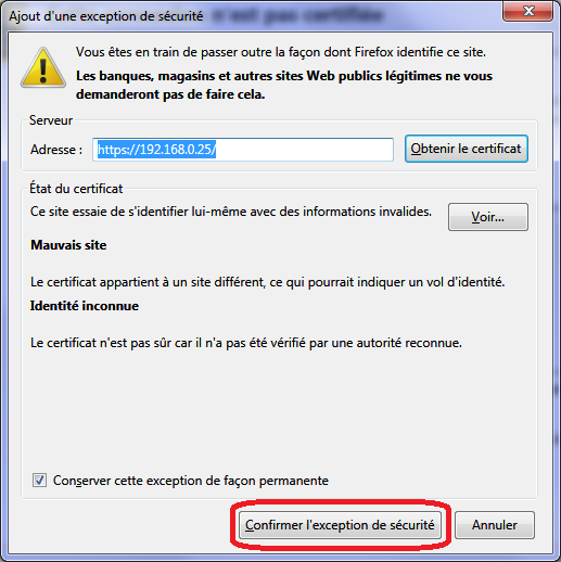 Acces_https_Synology_firefox_confirmer_exception_securite