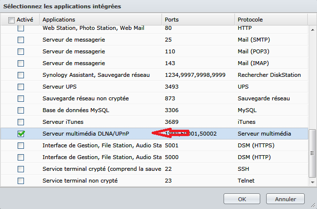 Synology_configuration_du_pare-feu_creation_regle_selection_application_integree_dlna