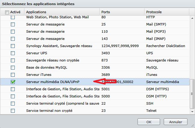 Synology_configuration_du_pare-feu_creation_regle_selection_application_integree_dlna