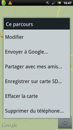 application android mes parcours envoi google