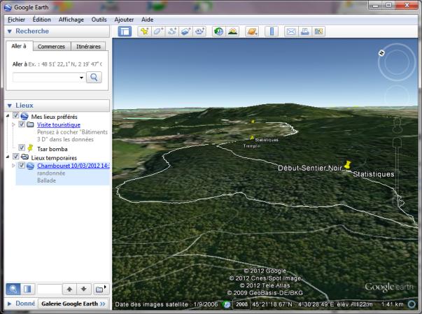 google earth visualisation en relief parcours randonnée