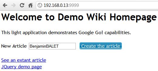 Exemple d'une application web avec Google Go