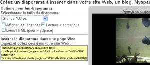 picasa diaporama site web html