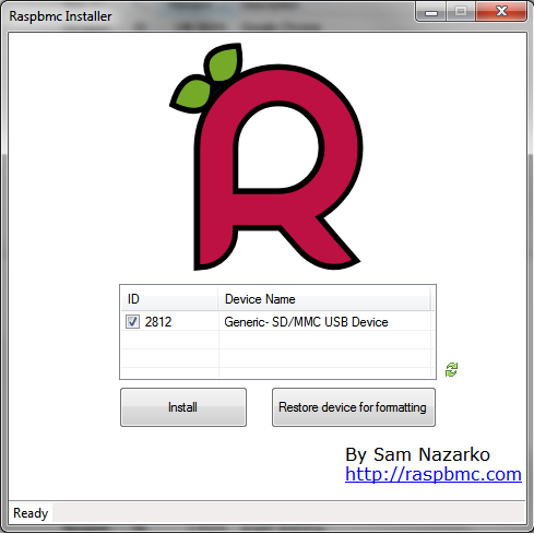 Exemple d'utilisation de l'installeur RaspBMC pour Windows