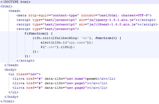 Code javascript minimal i18next