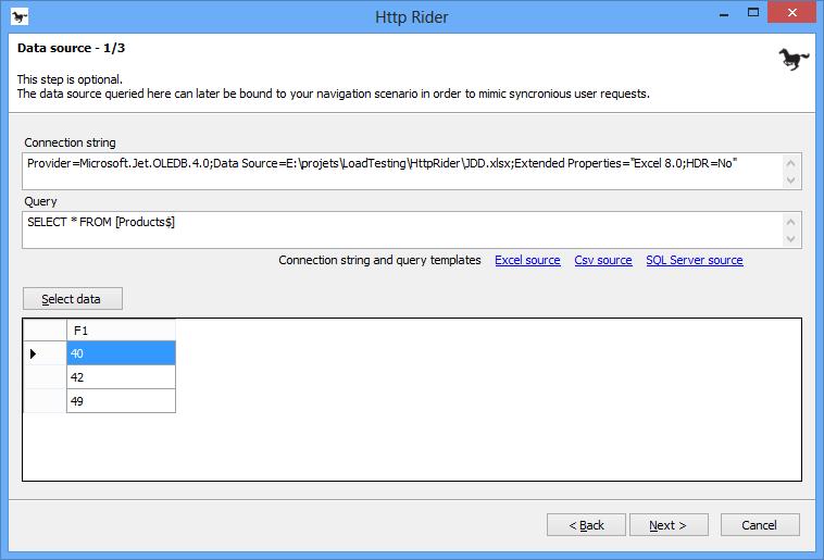 Définir un jeu de données avec HTTP Rider