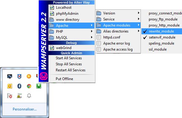 Vérifier la présence ou activer le module rewrite d'Apache