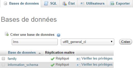 Création de la base de données MySQL pour LMS