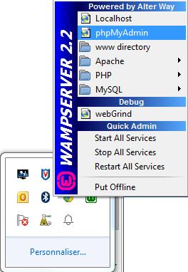 comment ouvrir phpmyadmin avec wamp
