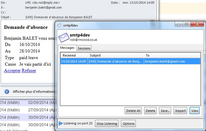 SMTP4DEV permet de simuler un serveur SMTP en tout simplicité